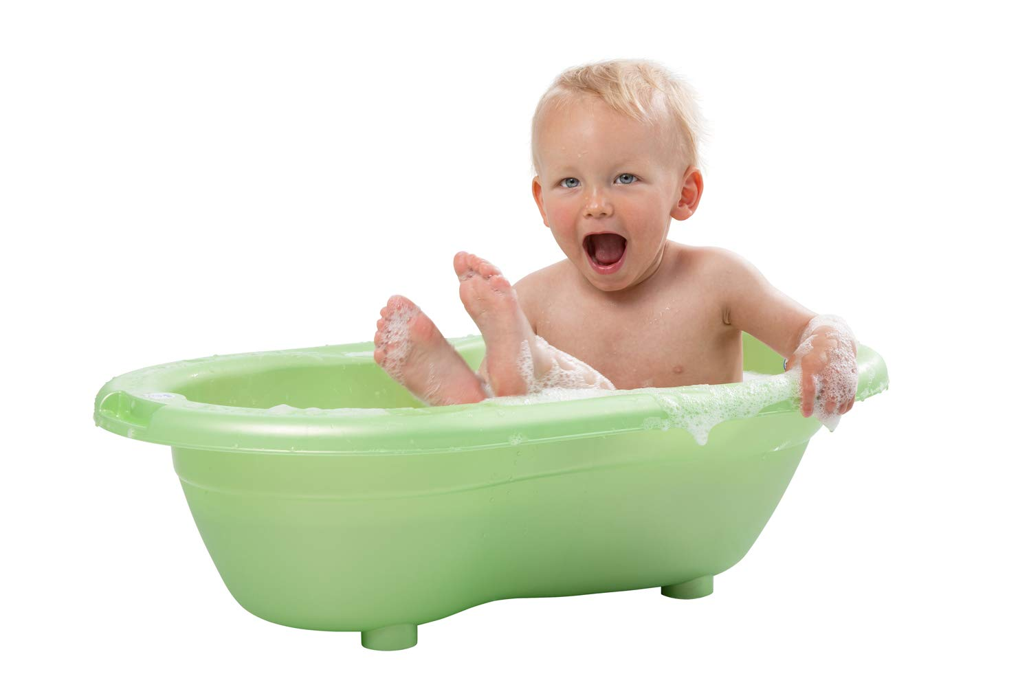 Rotho Babydesign TOP Bath tub, with Anti-Slip Mat and Drain Plug, 0-12 Months, TOP, White, 200010001