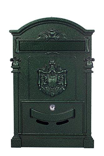 Antiker großer und sehr edler Briefkasten LB-001-Long Grün Wandbriefkasten, Briefkasten, Nostalgischer Englischer Briefkasten Alu - Guss 47 cm hoch . Mit Befestigungsmaterial für die Wand. mit 2 Schlüsseln , Rostfrei