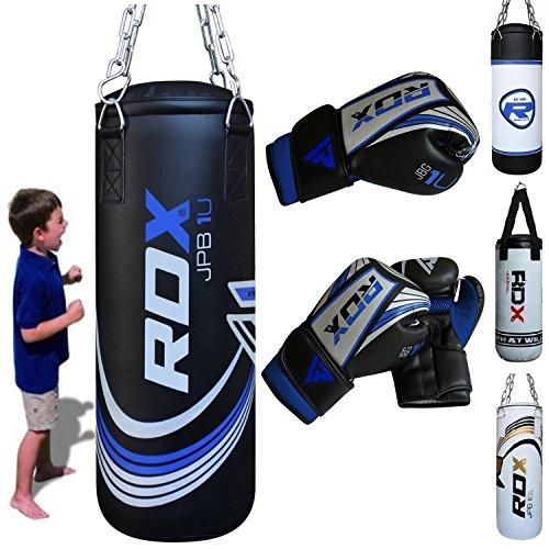 RDX kinder Boxsack Set Gefüllt Kickboxen MMA Kampfsport Muay Thai Boxen mit kette Training Handschuhe Kampfsport Schwer Junior 2FT Punching...