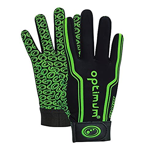 Optimum Velocity Full Finger Boy's Glove, Black (Black/Green) - Small Boys (5-6 Inch)