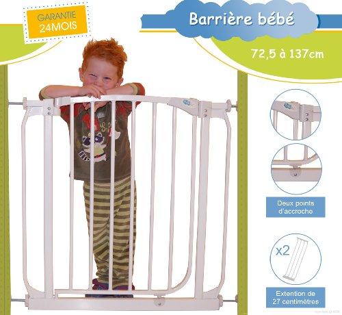 Bébélol ® Barrière de Sécurité Enfant Extensible de 72.5cm à 137 cm - * Conformes aux normes : EN 1930:2011 / GARANTIE 2 ANS / SATISFAIT OU REMBOURSÉ