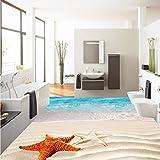 Mbwlkj Tapete 3D-Surf Beach Shell Sea Star Bodenbeläge Malen Wohnzimmer Büro Dekoration Selbstklebende Stock Wandbild-200Cmx140Cm