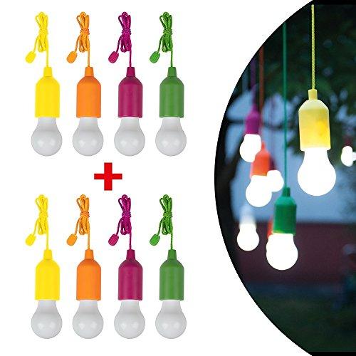 Handy Lux Colors kabellose LED Leuchte in 4 Gehäuse Farben | 8 Stück Lampen | Safe touch Oberfläche | Bruchfest | Garten, Camping, Party, Kleiderschrank | Das Original aus dem - Garten-lampen