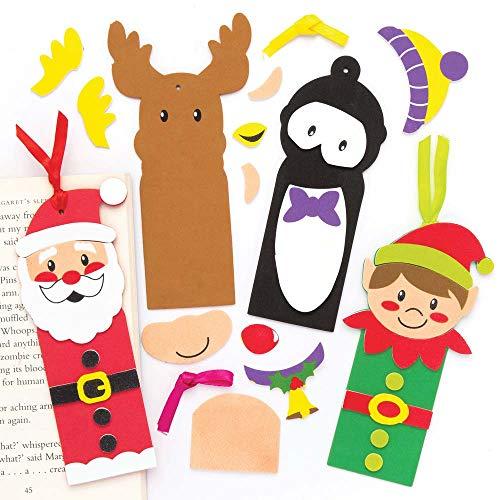 Baker Ross Lesezeichen-Bastelsets Weihnachten für Kinder - für weihnachtliche Bastelarbeiten und Dekorationen (5 Stück)