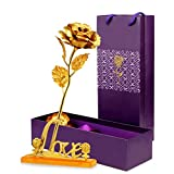 #6: Skylofts 24K Golden Rose with Love Stand , Gift Box and Carry Bag - Best Valentine's Day Gift, Birthday Gifts Gold Dipped Rose (With Love Stand)