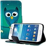 kwmobile Wallet Case Kunstlederhülle für Samsung Galaxy S4 - Cover Flip Tasche in Eule Nacht Design mit Kartenfach und Ständerfunktion in Blau Türkis