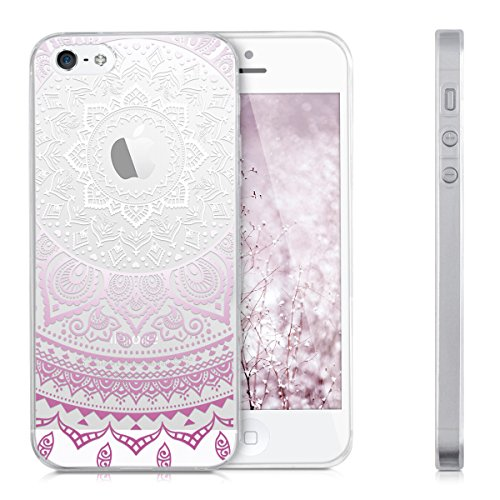 kwmobile Hülle für Apple iPhone SE / 5 / 5S - TPU Silikon Backcover Case Handy Schutzhülle - Cover Metallic Blau Violett Weiß Transparent IDS