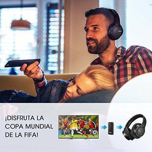 Mpow H7 Cascos Bluetooth  1.2m Cable de Audio de 3.5mm  13hrs de Reproduccion  15hrs de Conversación  Auriculares de Diadema Inalámbrico con Micrófono  Cojines de Oído con Memoria y Proteína para Celular / Tablets / PC / TV
