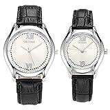 JSDDE Partner-Armbanduhr Einfaches Classic Armbanduhr Schwarz Lederband Analog Qaurz Uhr Liebespaar Paaruhren Set 2X
