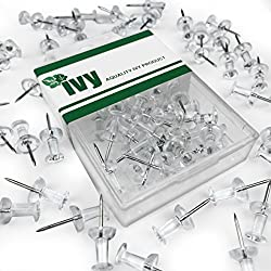 Ivy Stationery - Clear Push Pins Map Pins- Pack of 40 - 7mm Plastic Head