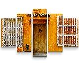 5 teiliges Wandbild auf Leinwand (Gesamtmaß: 150x100cm) Fassade eines Hauses in Cartagena, Kolumbien