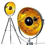 Lampadaire Saturn XXL vintage à abat-jour métallique noir et doré, pour ampoule...