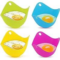 Yidenguk Set di 4 stampi in silicone per cuocere uova in camicia  adatti per padella  vaporiera  forno a microonde