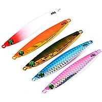 Aorace 5pcs/lot de cucharas Jigging Pesca Buceo señuelos de pesca cebos Spinners Bass Shad Runner con la pluma 8.7cm/40g