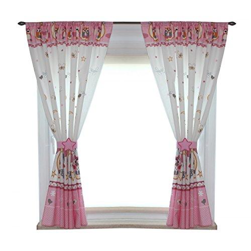TupTam Kinderzimmer Vorhänge Set mit Zierband und Stern, Farbe: Eulen Rosa, Größe: ca. 155x155 - Für Kinderzimmer Vorhänge Ein