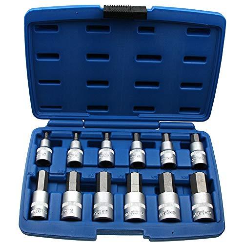 12 x Kraft Innensechskant Einsatz/Steck-Nuss Schlüssel für Innen-6-kant Schrauben Steckschlüsseleinsatz Schraubenschlüssel-Einsatz Größe 5-22 mm 1/2