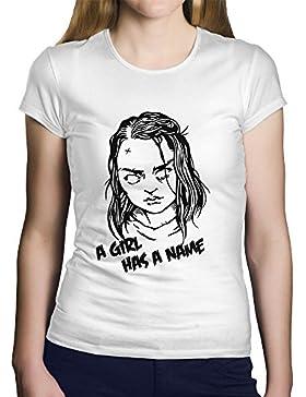 "OKAPY Camiseta Juego de Tronos. Una Camiseta de Mujer con Arya Stark y ""A Girl Has a Name"". Camiseta Friki de..."