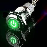 24V 3A 16mm LED verde de alimentación Símbolo momentáneo (desactivado) de metal del interruptor del empuje del botón