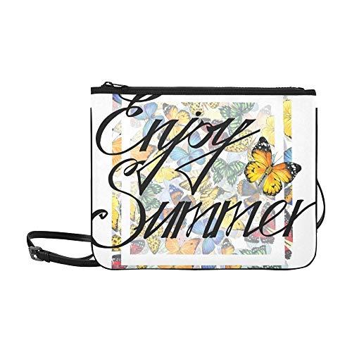 Genießen Sie Sommer T-Shirt Print Design Stock Illustration Muster benutzerdefinierte hochwertige Nylon Slim Clutch Bag Cross-Body Bag Umhängetasche -