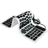 YUMQUA Portable Wired USB Flexible Foldable Silicone Keyboard Soft Waterproof Roll up 107 Keys for Computer Laptop PC Black