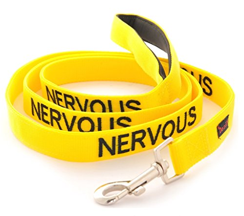 NERVOUS (Give Me Space) Yellow Colour Coded 60cm 1.2m 1.8m Luxury Neoprene Padded Handle Dog Leads PREVENTS Accidents By Warning Others Of Your Dog In Advance