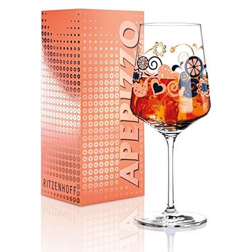 RITZENHOFF Aperizzo Aperitifglas von Shinobu Ito, aus Kristallglas, 600 ml, mit edlen Goldanteilen