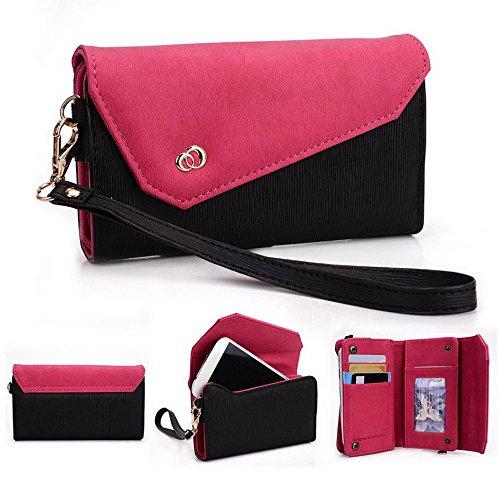 Preisvergleich Produktbild Kroo Link Series Universal Wristlet Damen Tri-Fold Brieftasche Kupplung,  der Geldbörse für HTC One Handy mehrfarbig Black and Magenta