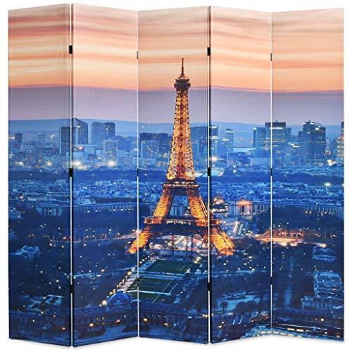 Festnight Paravent 5-teilige Raumteiler Klappbar 200 x 180 cm Paris bei Nacht
