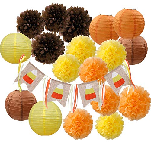 HappyField Fallen Sie Party Dekorationen, Herbst Dekorationen, Herbst Banner, Thanksgiving Party Dekorationen, Orange Party Kit Thanksgiving Party Dekorationen / Geburtstag Party Dekorationen