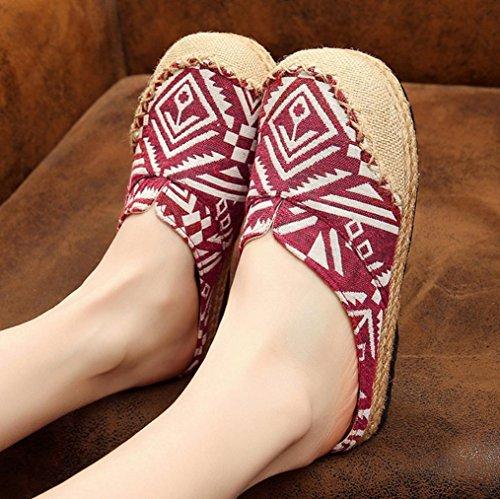 DM&Y 2017 Thailandia le scarpe di tela estate scarpe casual delle donne di colore di periodo pantofole di cotone cucitura a mano Red