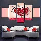 Wuwenw Decorazione Moderna Parete Quadro Hd Stampa 5 Pezzi Rosso A Forma Di Cuore Alberi Paesaggio Immagini Poster Modulare Canvas Dipinti Arte, 12X16 / 24/32 Pollici, Senza Cornice