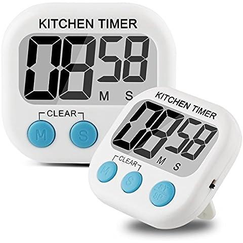 ALAIX cocina casera alarma de cuenta regresiva del temporizador digital en blanco y pantalla LCD de gran tamaño