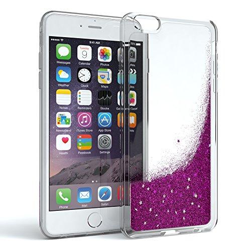 Apple iPhone 6 / 6S Schutzhülle mit Flüssig-Glitzer I von EAZY CASE I Handyhülle, Schutzhülle, Back Cover mit Glitter Flüssigkeit, aus TPU / Silikon, Transparent / Durchsichtig, Lila (I Phone 6 Case Glitzer-flüssigkeit)