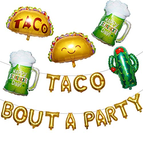 meekoo Taco Ballon Kaktus Ballon Kit Taco Bout A Party Folien Ballons Große Kaktus Balloons Bier Balloons Verpflichtungs Bachelorette Geburtstag Taco Party Dekor Mexican Fiesta Lieferungen (Ballons Lieferung Party)