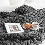 Beautyjourney 100 * 150 cm Main Chunky En Tricot De Laine éPaisse Couverture à Tricoter En Vrac Jeter Couverture Douce (Gris foncé)