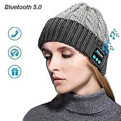 Zwini Bluetooth Mütze Wireless V5.0 Bluetooth Hut Mütze Frauen Männer Winter Warme Hüte mit Kopfhörer Headset Mic Lautsprecher für Laufen, Skifahren, Skaten, Wandern
