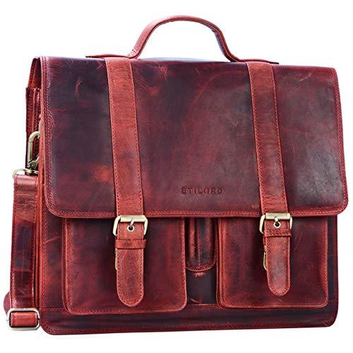 STILORD \'Marius\' Klassische Lehrertasche Leder Schultasche XL groß Aktentasche zum Umhängen Businesstasche Laptoptasche echtes Rindsleder, Farbe:Kara - rot