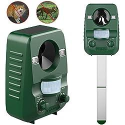 AngLink Repelente de Gatos, Repelente Ultrasónico para Animales, para Exterior, Resistente al Agua. Detector de Perros, Gatos, etc con estaca (Palo) para Tierra, Jardine