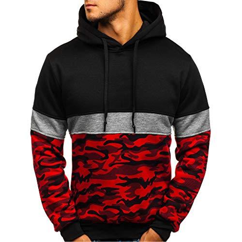 Felicove Herren Hoodie Kapuzenpullover Sweatshirt | Streetwear Mit Kapuze | Basic Sweatjacke | Herren Slim Fit Kapuzenpullover Hoodie für Sport Fitness Gym Training & Freizeit (Rot 1, XXL)
