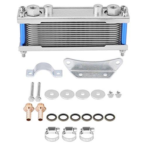 Qii lu Radiatore olio, Upgrade Alluminio Moto Radiatore olio motore Radiatore raffreddamento 50CC-200CC Universale(Silver)
