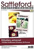 Sattleford Etikettenpapier: 100 Etiketten A4 210x297 mm für Laser/Inkjet (Labeldrucker-Etiketten)