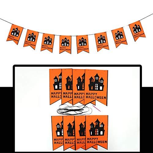 Chennie Halloween Nonwoven DIY Banner Hängende Flagge Girlande Bunting Home Party Dekoration Requisiten (Color : Bat)
