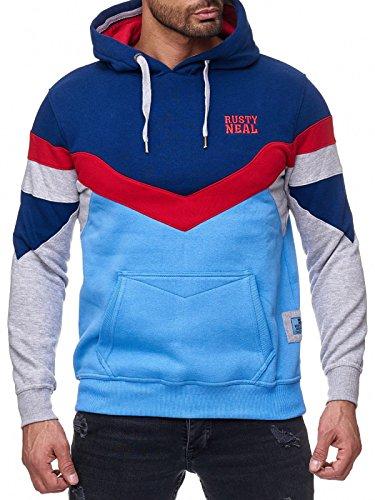 Rusty Neal Sweatshirt Mix Herren Sweat Hoody Kapuze Reißverschluss 19048 Marine