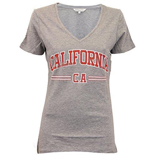 Damen Top Brave Soul Damen T-Shirt V Ausschnitt Flügelärmel CALIFORNIA Aufdruck Sommer - Grau - 69CALISPORT, (Kostüm Größentabelle Galerie)