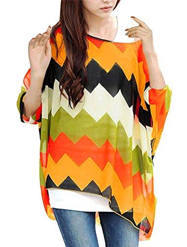 JLTPH Donne Tunica Shirt spiaggia delle del Batwing chiffon camicetta Hippie Shirt Top