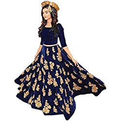 Ethnic Empire Women's Velvet Anarkali Lehenga Choli (Ethnic001_Er10610_Navy Blue_Free Size)