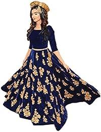 Ethnic Empire Women's Velvet Anarkali Salwar Suit Set (Eeas_Ea10610_Navy Blue_Free Size)