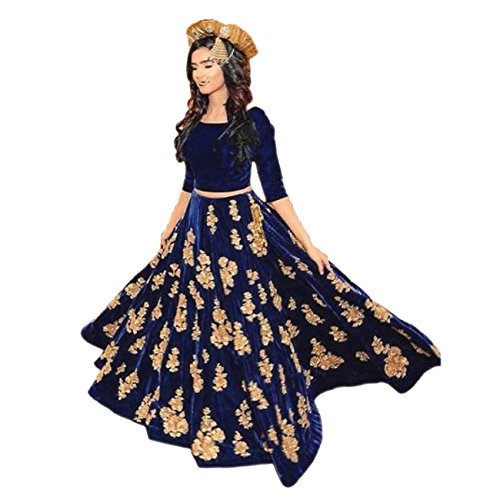 Ethnic Empire Women\'s Velvet Anarkali Lehenga Choli (Ethnic001_Er10610_Navy Blue_Free Size)
