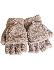 Femmes / filles avec des gants sans doigts Mitten couverture en peluche,kaki