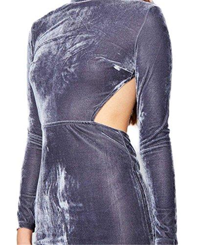 Sexy Velours Fabric Encolure Montante Haute Ouvert Découvert Waist Manches Longues Midi Mi-longue Bodycon Fourreau Moulante Ajustée Dress Robe Gris Gris